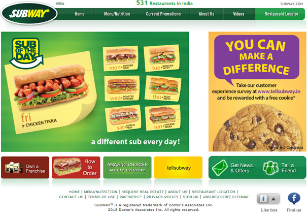 Vibrant, Trendy Subway India site goes Live